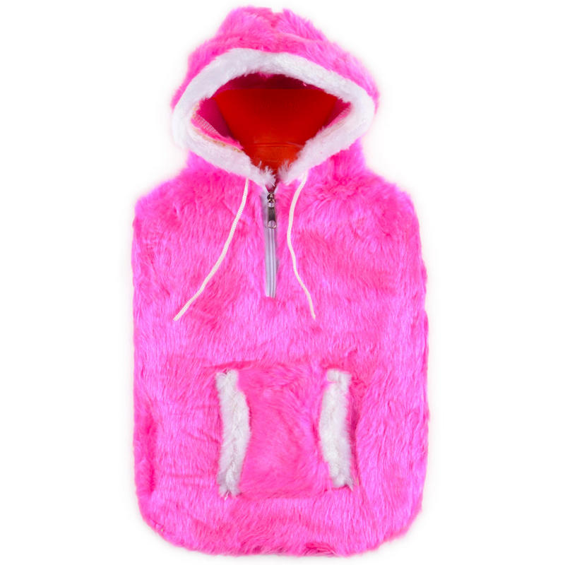 Hot Water Bottle With Hot Pink Fun Fur Eskimo Hooded Jacket With Zip And Pockets Cover Preview