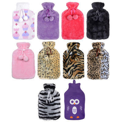 Large Hot Water Bottle With Beautiful Soft Fleece / Faux Fur Cover