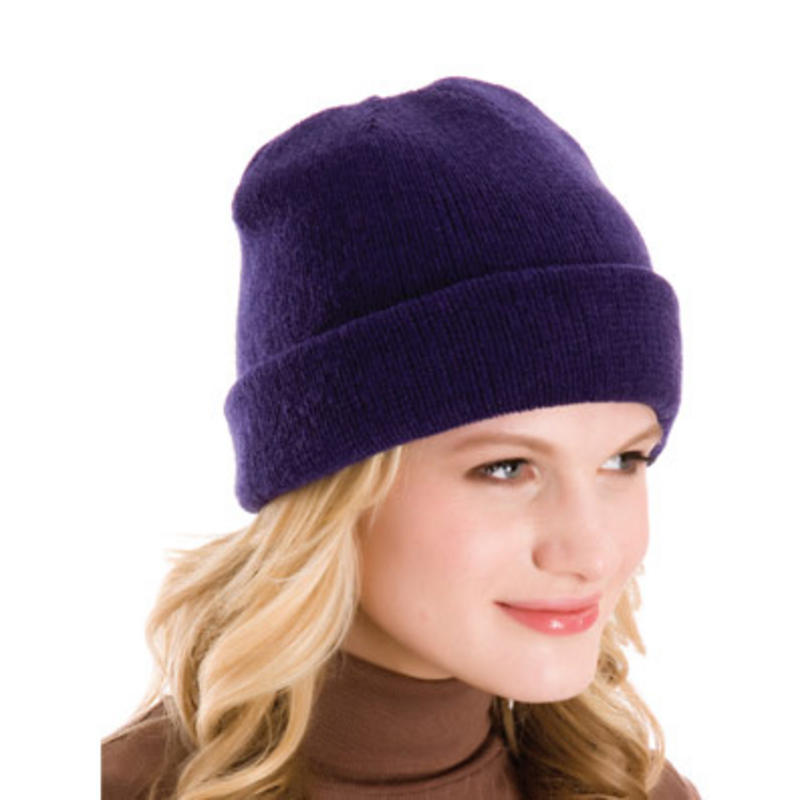 Ladies Stylish And Versatile Fine Knit Beanie Hat With ...