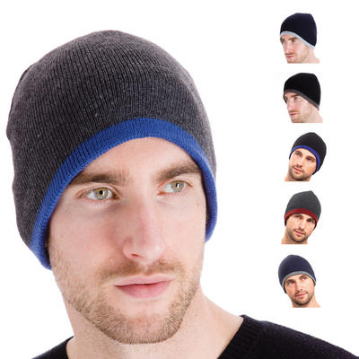 Fashionable Mens Reversible Fine Knit Beanie Hat One Side Plain The Other With Contrast Edge