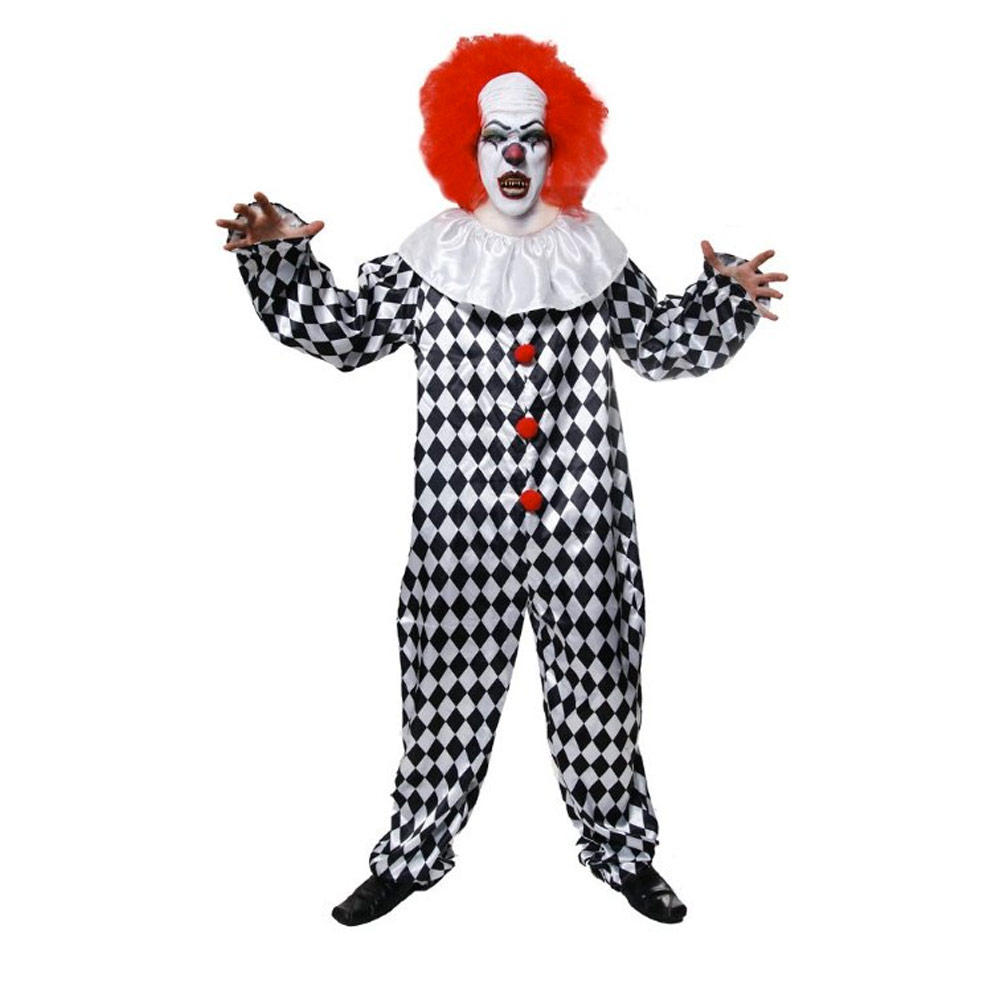 Adult Scary Clown Costume With Wig Fancy Dress Party Costume