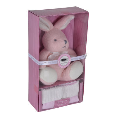 Tiny Totes Chenille Bunny & Slipper Sock Gift Set Pink