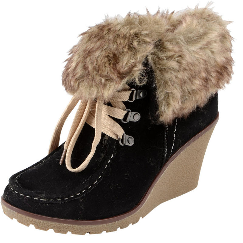 lace up faux suede wedge heel ankle boots with