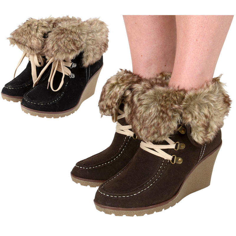 Ladies&39 Lace Up Faux Suede Wedge Heel Ankle Boots With Faux Fur
