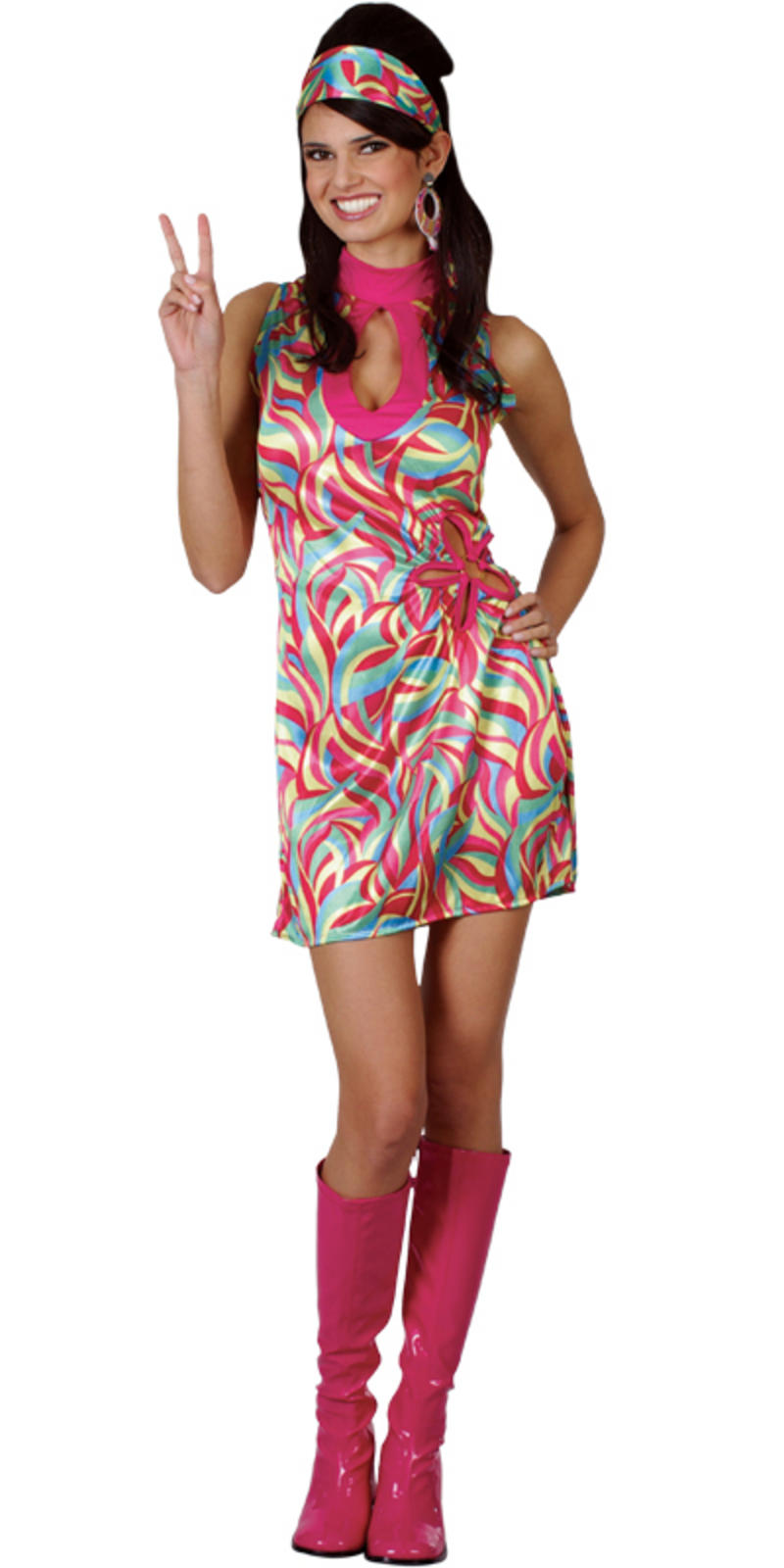 60s Groovy Go Girl Ladies Fancy Dress Costume XS
