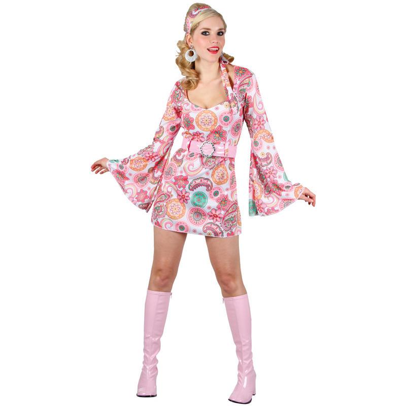 Peachy Retro Go Go Girl 60S Style Pink Flower Mini Dress Ladies Fancy Hairstyle Inspiration Daily Dogsangcom
