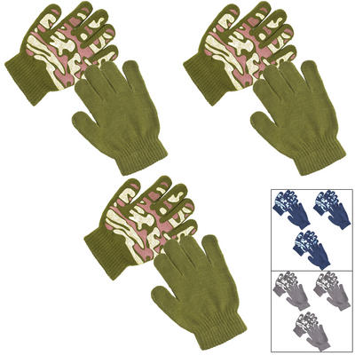 3 Pairs Of Kids Camouflage Print Gripper Gloves