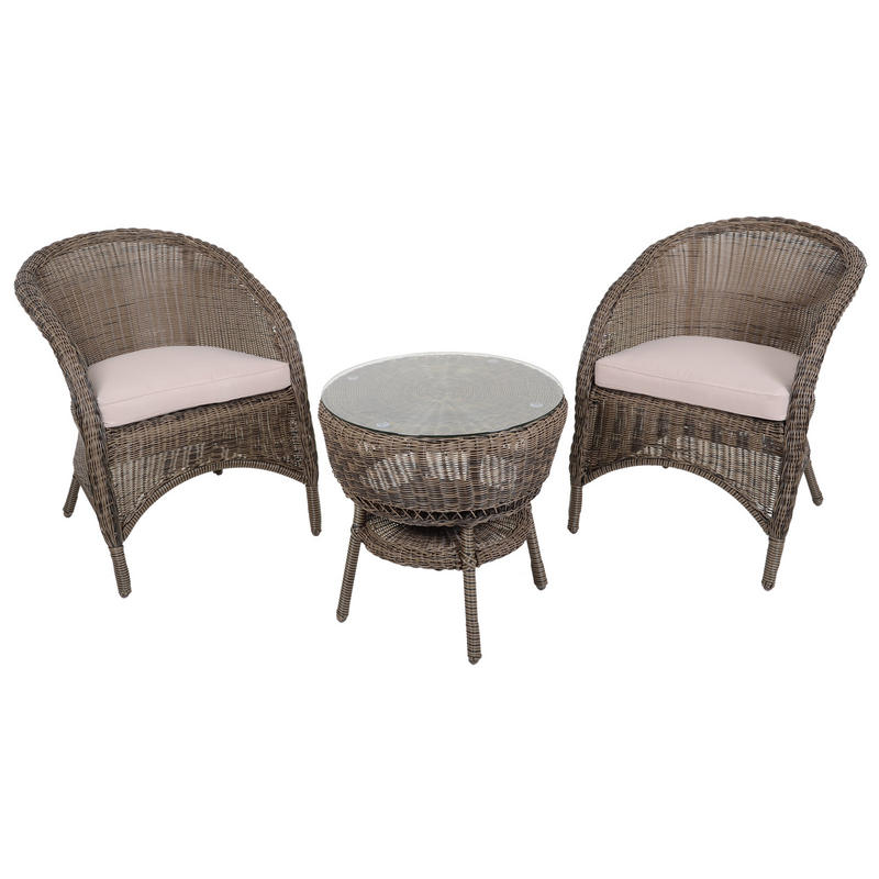 wicker rattan coffee table 2 chairs garden bistro set preview