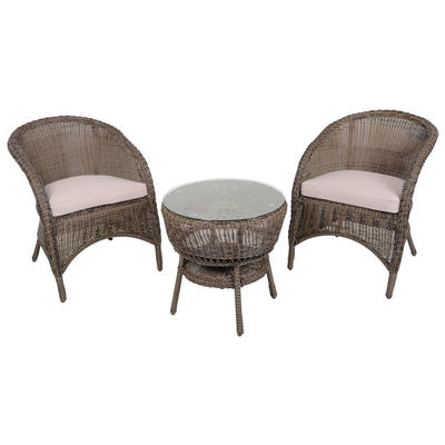 Marseille Wicker Rattan Coffee Table & 2 Chairs Garden Bistro Set