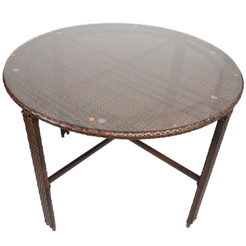 wicker dining garden furniture set with round glass top table 4