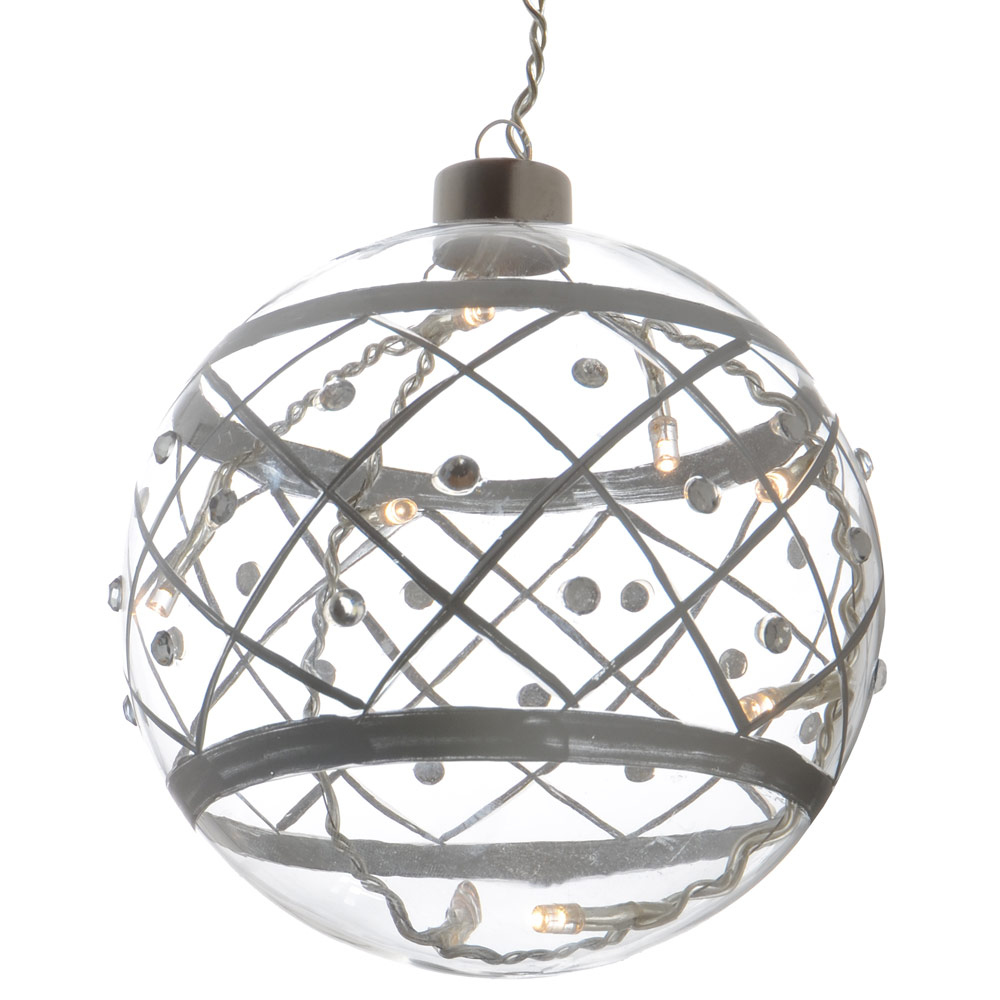 Clear glass ball ornaments - 13cm Led Light Up Transparent Glass Ball Bauble Christmas Decoration
