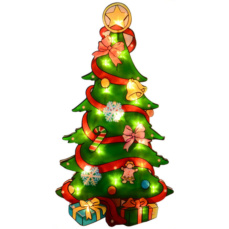 Mains operated glistening pvc christmas tree silhouette for 30 lighted nativity christmas window silhouette decoration