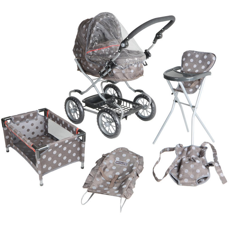 Mamas & Papas Graziella Polka Dot Complete Baby Doll Care Pram Buggy Crib Play Set  Preview