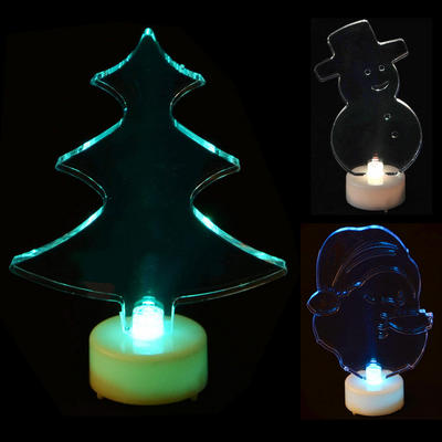 10cm Light Up Colour LED Acrylic Shaped Christmas Festive Decoration New
