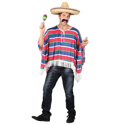 Mens Mexican Bandit Amigo Poncho Halloween Fancy Dress Costume