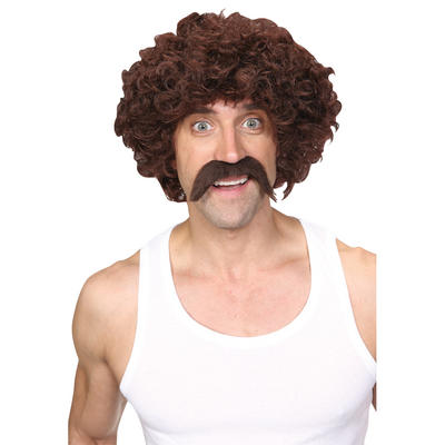 Wicked Costumes Funny Athlete Retro 1970's Scouser Moustache Wig Set Costume Accessory - Brown