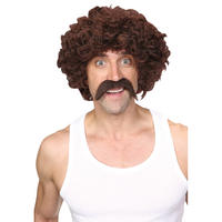Wicked Costumes Funny Athlete Retro 1970's Scouser Moustache Wig Set Costume Accessory - Brown Thumbnail 1
