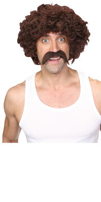 Wicked Costumes Funny Athlete Retro 1970's Scouser Moustache Wig Set Costume Accessory - Brown Thumbnail 2