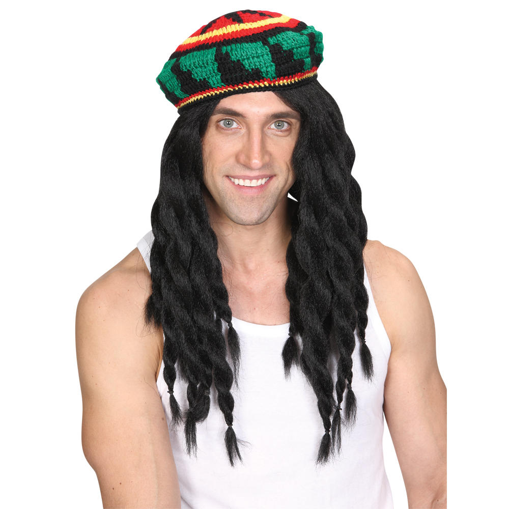 Wicked Costumes Thick Knitted Rastafarian Hat & Dreadlock Wig Combo Set Preview