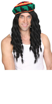 Wicked Costumes Thick Knitted Rastafarian Hat & Dreadlock Wig Combo Set Thumbnail 2