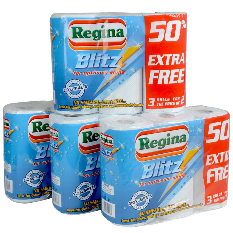 12 X Regina Blitz Kitchen Roll Paper Towels Cleaning Supplies Wholesale Job Lot