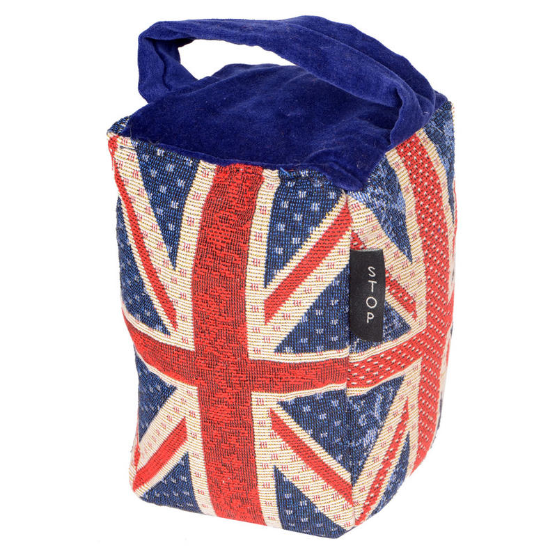 Country Club Tapestry Doorstop Union Jack Design With A Cotton Velvet Handle