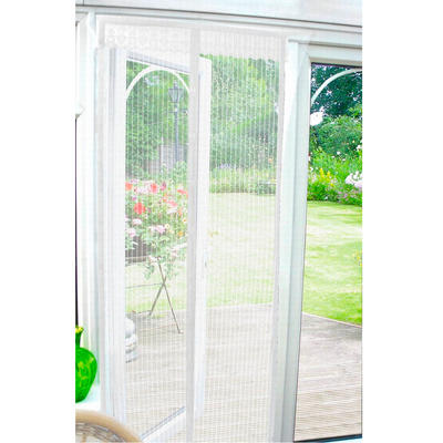 White Magnetic Insect Door Screen Mesh Curtain 90cm x 210cm