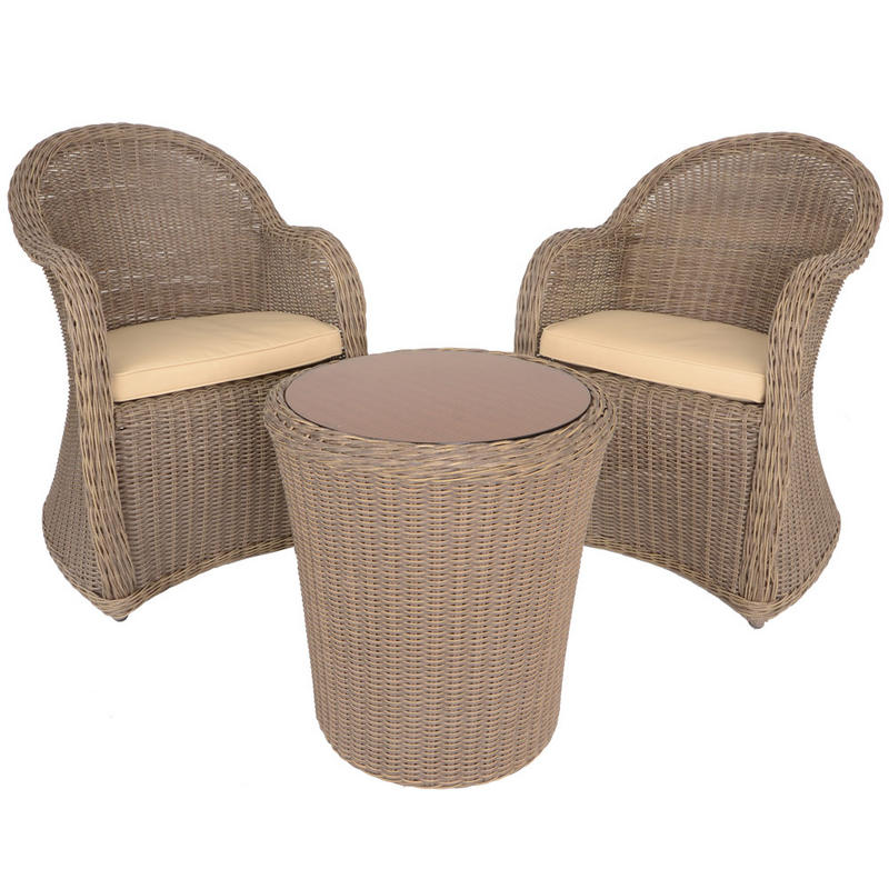 azuma 3 piece cannes wicker rattan garden patio. Black Bedroom Furniture Sets. Home Design Ideas