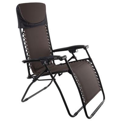 Azuma Zero Gravity Padded Reclining Garden Relaxer Sun Lounger Chair Seat - Espresso