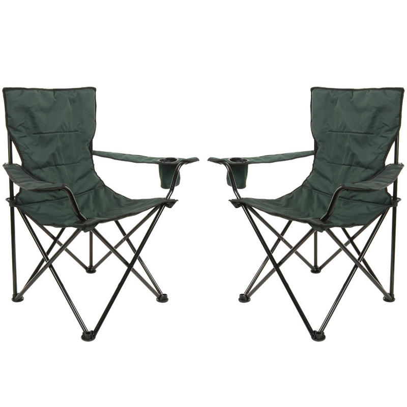 2 x Azuma Deluxe Padded Folding Camping Outdoor Summer Festival Arm Chair Seats