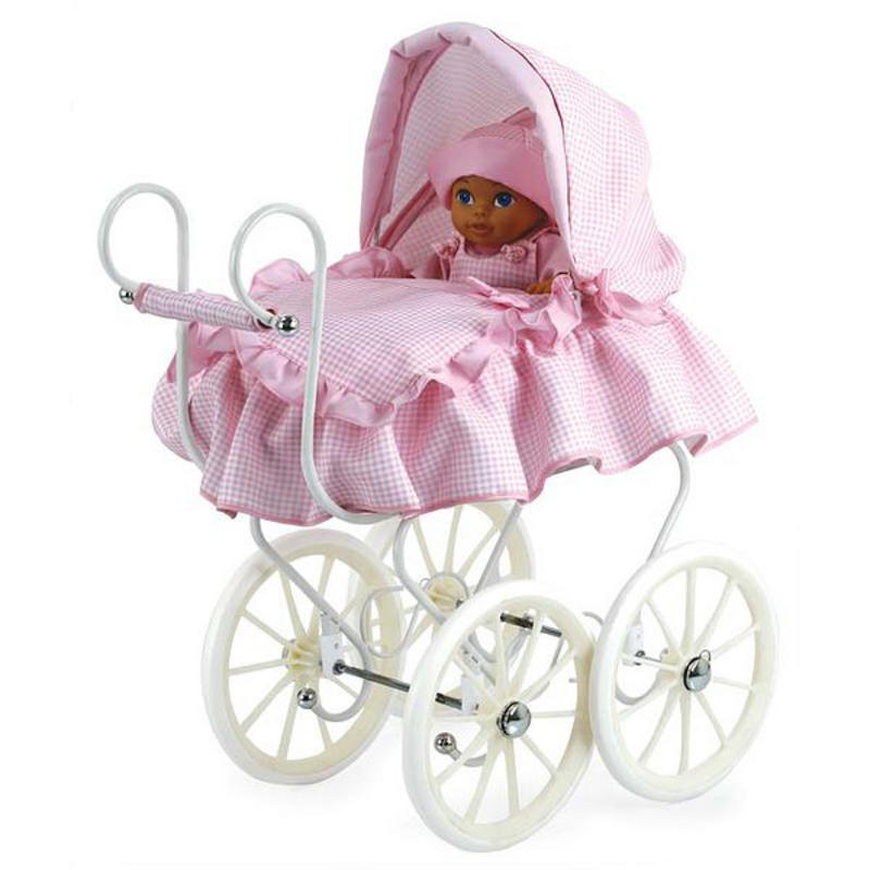 Victoria Doll S Pram White With Pink Check Fabric