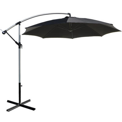 3m Black Overhanging Garden Parasol Sun Shade With Crank Mechanism