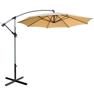 3m Natural Overhanging Garden Parasol Sun Shade With Crank Mechanism