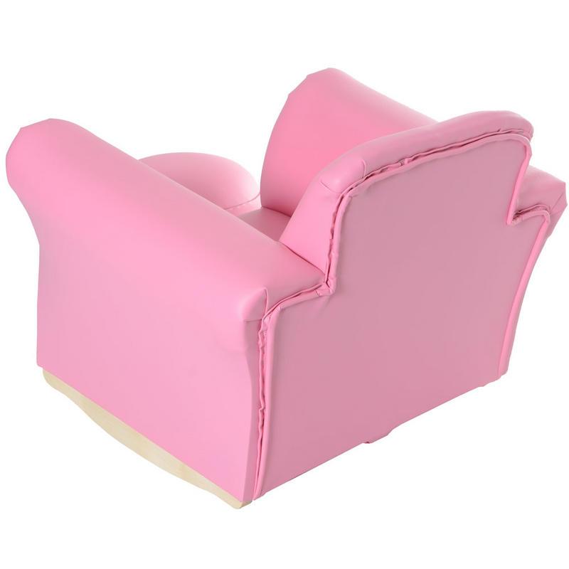 Azuma kids pu leather look rocker rocking armchair seat for Kids pink armchair
