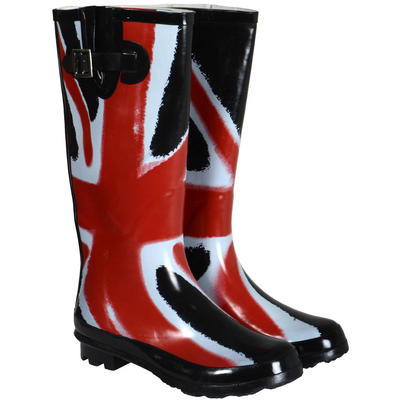 Ladies Union Jack Funky Festival Wellies Wellington Boots Sizes 3-8
