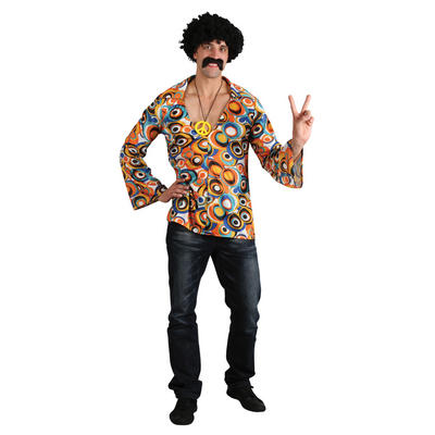 Mens' Groovy Flower Power Hippie Shirt Fancy Dress Up Party Festival Costume