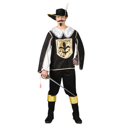 Mens Historical Fancy Dress Musketeer Guard Halloween Costume - Black