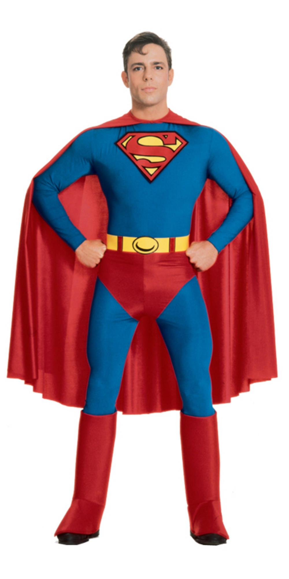 Mens superman super hero fancy dress up party halloween for Bureau 39 superman