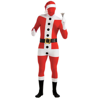 2nd Skin Santa Claus Spandex Body Sock Christmas Fancy Dress Costume