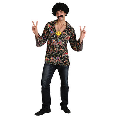 Cool Hippy Groovy Style Flower Power Shirt With Peace Medallion
