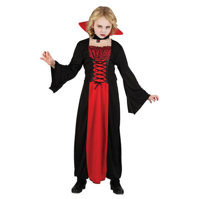 Girls Wicked Vampiress Halloween Horror Fancy Dress Party Outfit