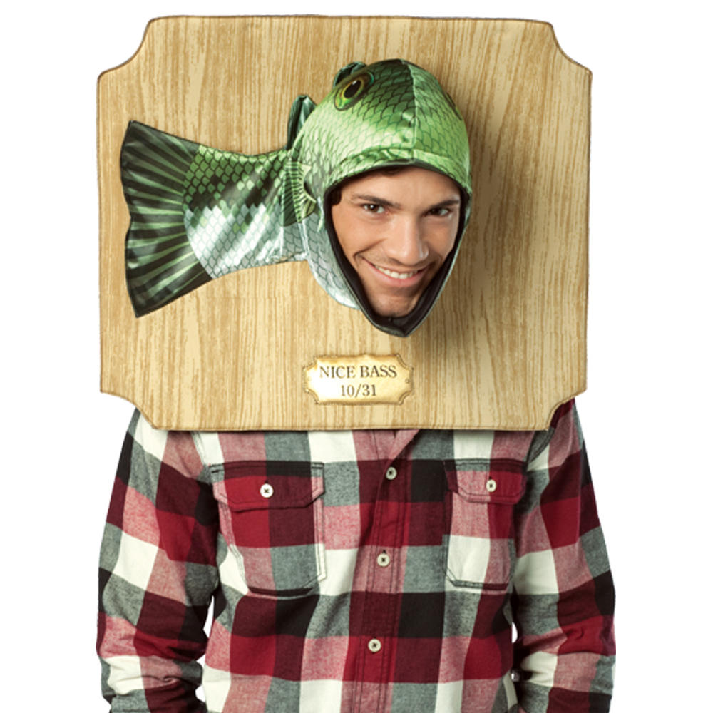 Nice bass fish trophy plaque head fancy dress party for Fish costume men