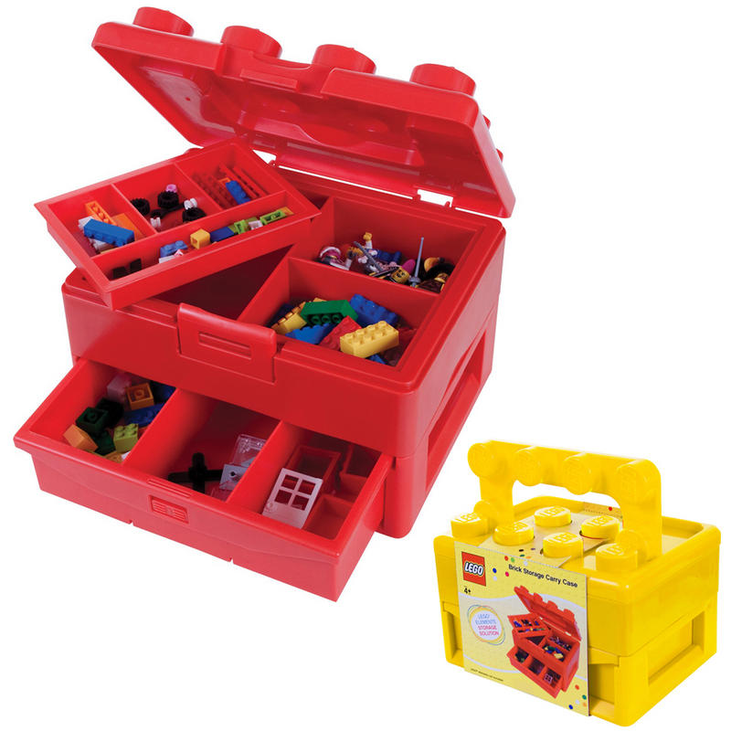 lego brick storage carry case with fold out handle toy box. Black Bedroom Furniture Sets. Home Design Ideas