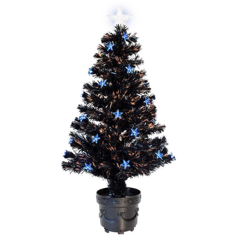 3ft 90cm Beautiful Black Fibre Optic Christmas Tree With ...