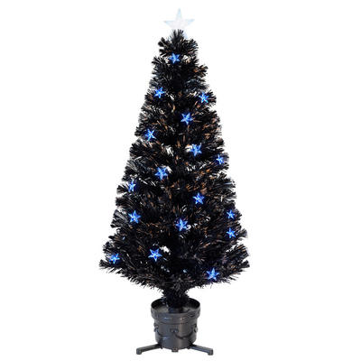 4ft 120cm Beautiful Black Fibre Optic Christmas Tree With Blue LED Stars