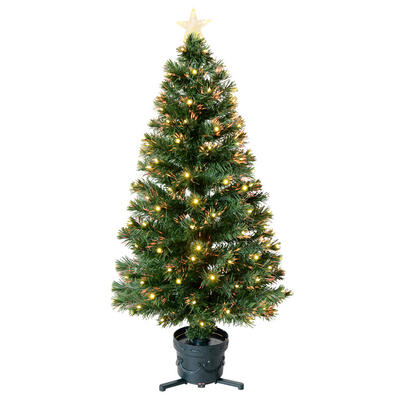 4ft 120cm Beautiful Green Fibre Optic Christmas Tree With Warm White LED Tips