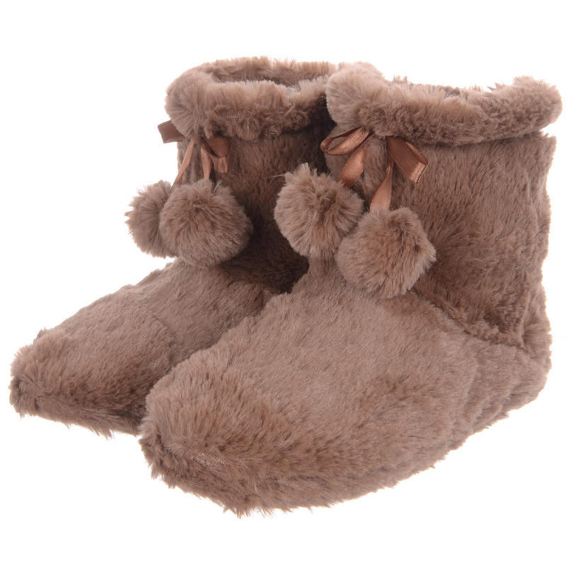 Ladies Fluffy Cosy Faux Fur Fleece Lined Ankle Booties Slippers With Pompoms - Mocha Preview