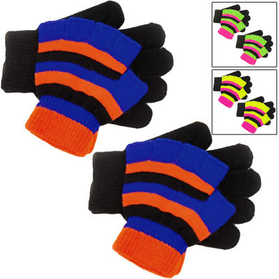 Pack Of 2 x Children's Double Layer Glove Set With Black Full Gloves & Bright Neon Striped Fingerless Gloves