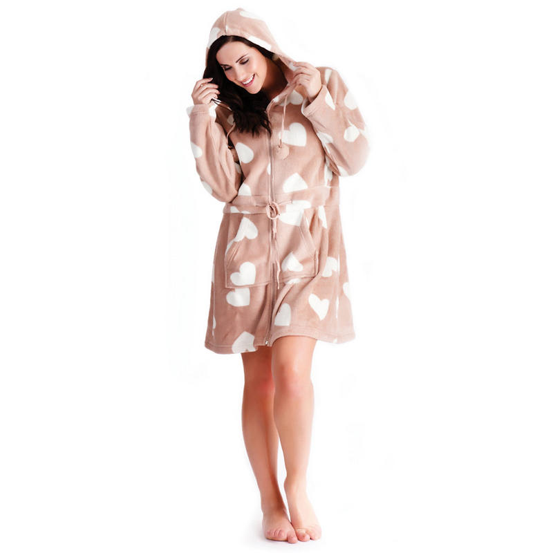 Ladies hearts design coral fleece dressing gown bath robe with zip