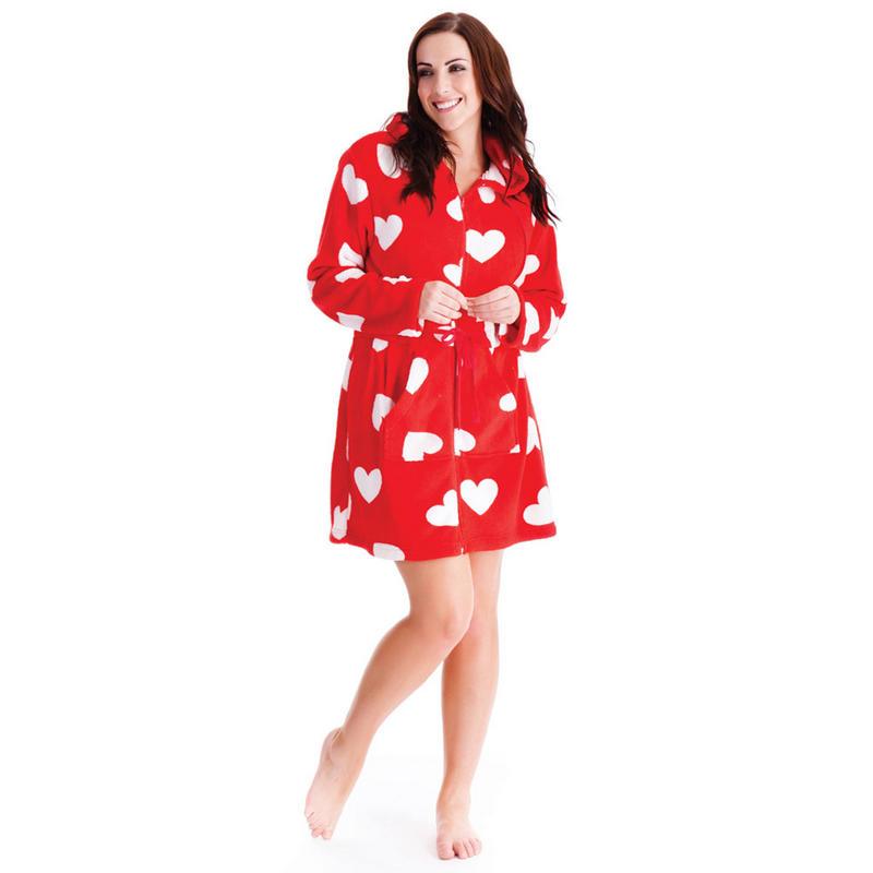 Ladies Hearts Design Coral Fleece Dressing Gown Bath Robe